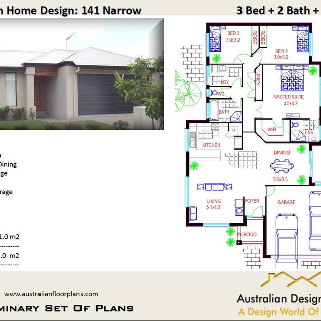 Narrow Lot 3 Bedroom Plans141