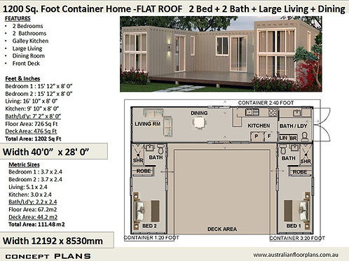 Best Selling 2 Bedroom Shipping Container house plans Flat | Concept Home Plan