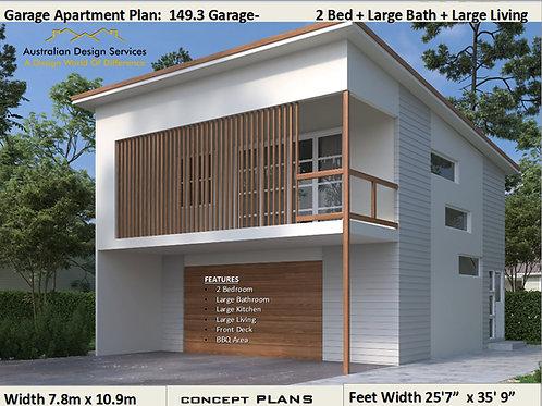 Garage Apartment 2 Bedroom + Study House Plan:149.3 2020| Preliminary Plan