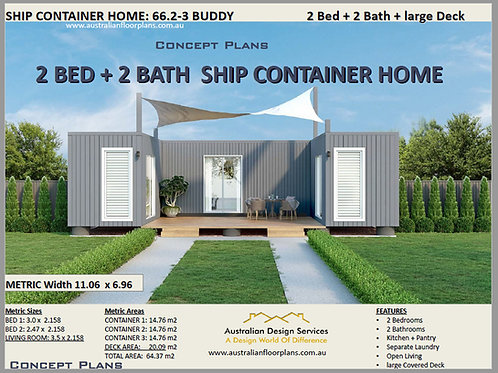 2 Bedroom 2 Bathroom Shipping Container Home plans:66.2 Buddy-3  | Concept Plans