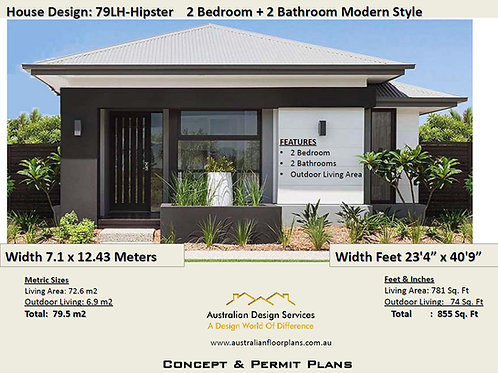 Australian 2 Bed 2 Bathroom House Plan:79.5 m2 (855 Sq Foot ) House Plan Set