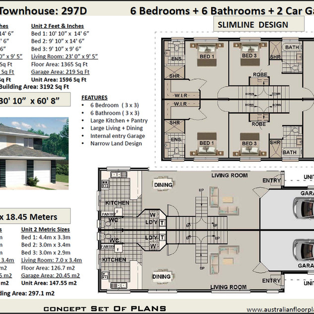 free narrow lot duplex design