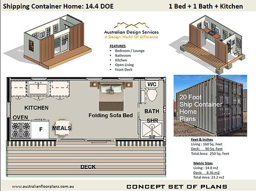 Shipping Container Home Plans: 20Ft DOE