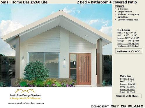 Modern 2 Bedroom House Plan:60 m2- 700 Sq. Foot | 60 Life  House Plan Set- Buy