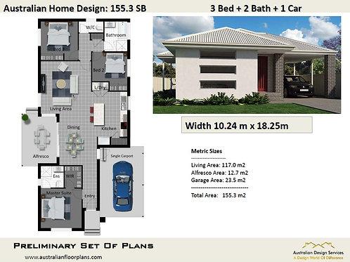 155.3 SB Narrow Lot 3 Bedroom Floor Plan :155.3 m2   Preliminary House Plan Set
