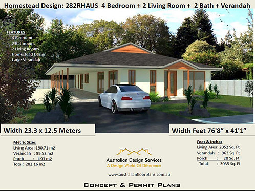 282 AUS Homestead - 4 Bed + 2 Bath : 282.16 m2 (3035 Sq. Foot) |House Plan Shop