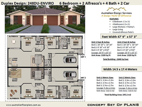 6 Bed + 4 Bath + 2 Cars Duplex House Plans :248DUEnviro