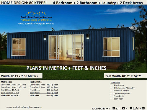 Shipping Container Home plans: 4 Bed 2 Bath  | 80 Keppel