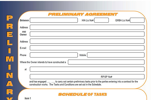 Builders Preliminary Agreement Form Template