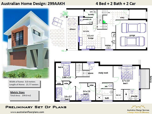 10m frontage 2 storey home designs  | Preliminary Plans 299 Single