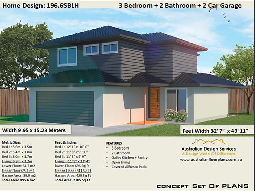 Small 2 Level House Plan: 196.6SBLH - For Sale