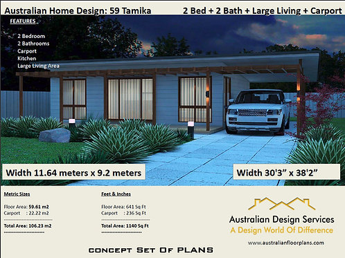 59 Tamika| 2 Bed House Plan- 106.23 m2 | Preliminary House Plan Set- 4 Sale