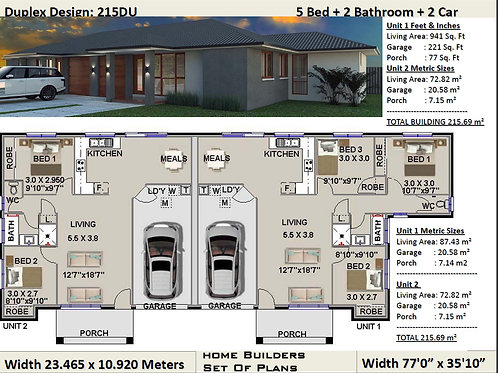 Duplex House Plan 215 DU | 5 Bed + Garage: 215.69 m2