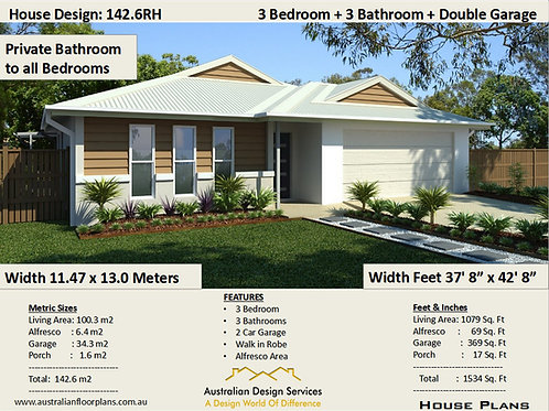 142.6RH - 3 Bed + 3 Bath House Plan + Double Garage