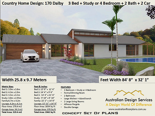 Country Home Desi 3 + Study or 4 Bedroom !  |  170 Dalby Plan Set