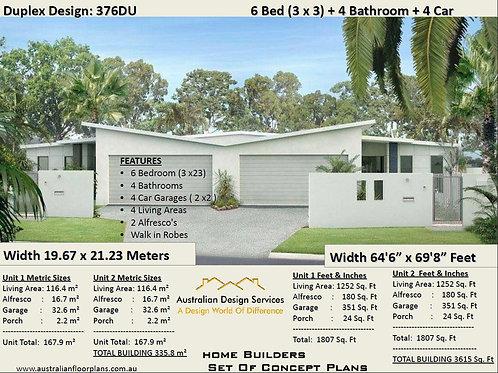 376DU | 6 Bed + Garage: 335m2 or 3615 Sq. Foot  | Duplex House Plan