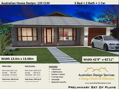 135 RH 3 Bed + Garage Plan : 166.54 m2 | Preliminary House Plan Set