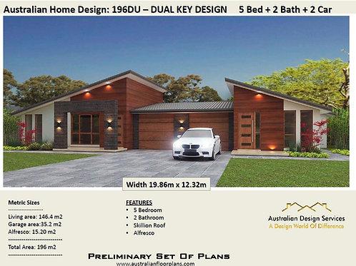 196 DU | 5 Bed + Garage: 196.0m2  | Duplex House Plan Preliminary House Plan Set