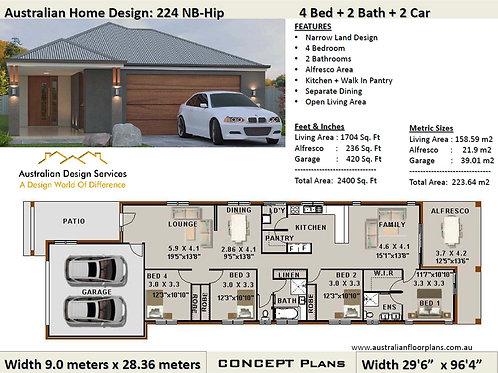 Narrow Lot 4 Bed + Garage: 223.0 m2 2400 Sq.Foot |  224Zero Hip