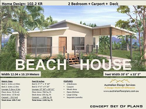 102KR-2 Bed + Carport Granny Flat:102.2 m2 | Preliminary House Plan Set