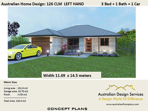 126 CLM 3 Bed + Garage Plan : 164.34 m2 | Preliminary House Plan Set