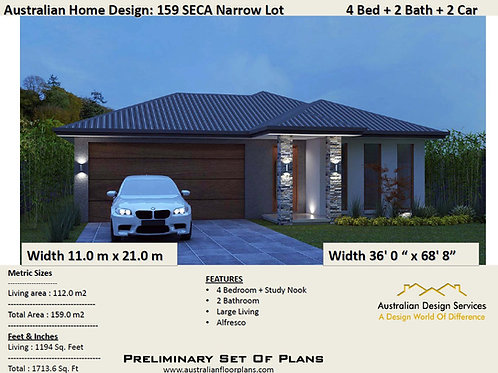 NARROW LOT 4 bedroom house plans + Garage:159.0 m2 | Preliminary House Plan Set