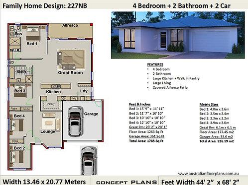 227NB | Modern Australian 4 Bed + Garage: 226.19 m2  | Preliminary House Plans