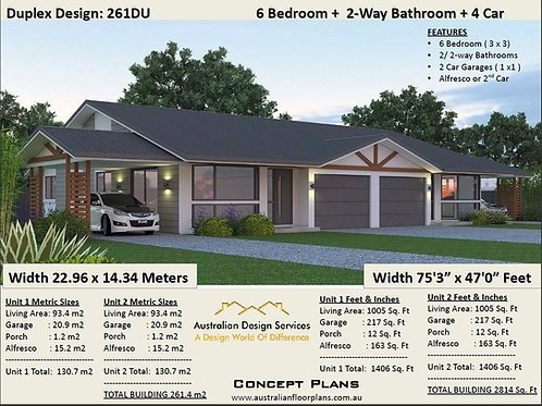 261 DU |6 Bed x 2 Bed x 4 Car :261.4 m2  | Duplex Design Preliminary House Plans