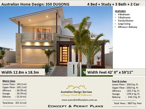 4 Bedroom + Study House Plans - : 358.0m2  3837 Sq Foot : 350LH