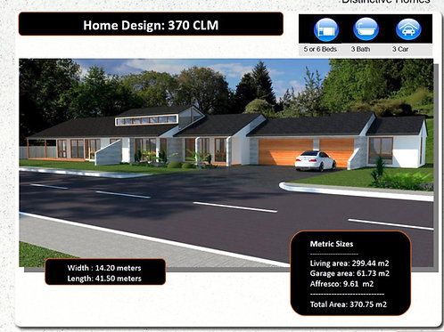 370 CLM  | Narrow Lot 5 Bed + Garage: 370.0 m2  | Preliminary House Plan