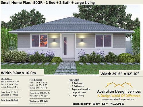 90GR-Australian 2 Bed House Plan:90.0 m2 | Preliminary House Plan Set