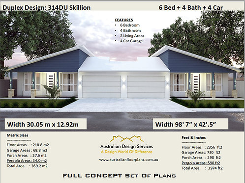 314DU Skillion- 6 Bed + 4 Bath + 2 Cars Duplex Design Australia - Concept Plan