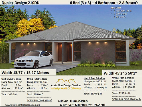 210DU | 6 Bed + 4 Bath : 210 m2 - 2260 Sq, Foot | Duplex Design House Plans