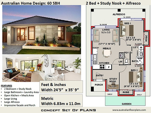 60SBH-2 Bed+Study Nook Granny Flat Plans: 63.4 m2 | Concept House Plans For Sale