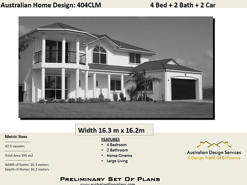 404CLM | two storey homes with rear balcony: 404.0m2 | Preliminary House Plans