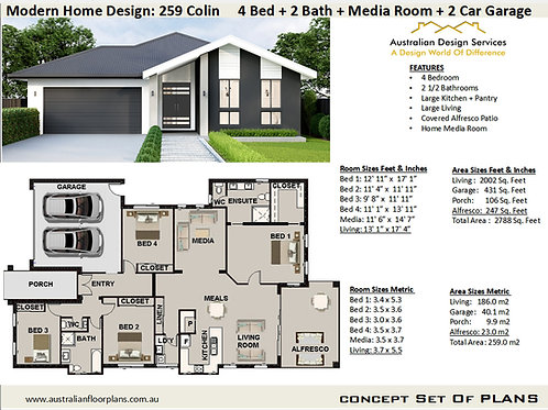 4 Bedroom Modern House Plans : 259 Colin