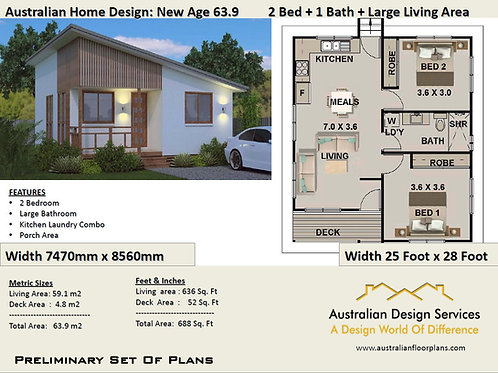 63.8 New Age | 2 Bed House Plan- 63.9 m2 | Preliminary House Plan Set-4 Sale