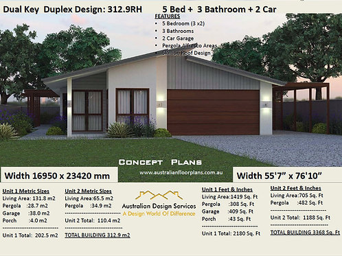 312.9RH Dual Key Skillion Roof 5 Bed + 3 Bath + 2 Cars Design - Concept Plans