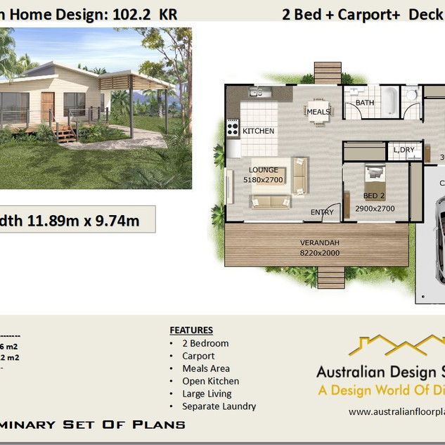 102KR: Free 2 Bed + Carport House Plan Australia