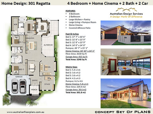 Modern 4 Bedroom House Plan:301Regatta
