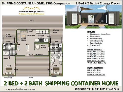 2 Bedroom 2 Bathroom Shipping Container Home plans:1306 Companion