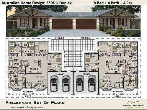 350 DU | 6 Bed + 4 Bath:  330.0 m2 |  Duplex Design Preliminary House Plans