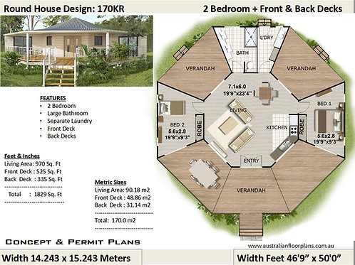 170KR-2 Bed Round House Plan: 90.18 m2 or 970 Sq. Foot Living Area|