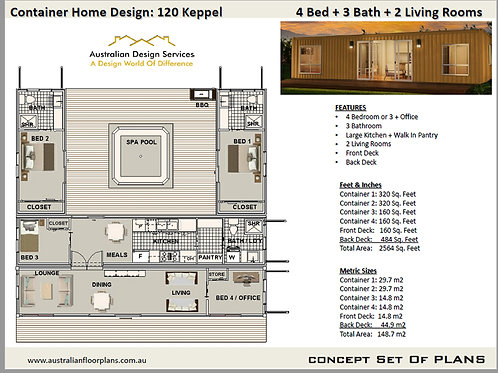 Shipping Container Home plans: 4 Bed 3 Bath    120 Keppel