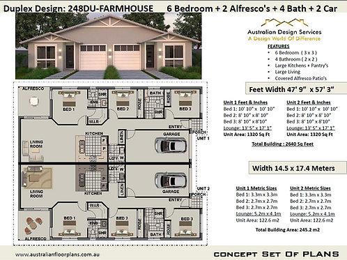 Country Duplex Design 6 Bed + 4 Bath + 2 Cars Duplex House Plans :248DUFarmhouse