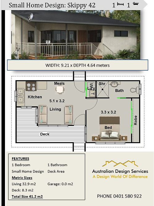 42 Skippy - Small 1 Bed House Plan - 41.2 m2 | Preliminary House Plan Set