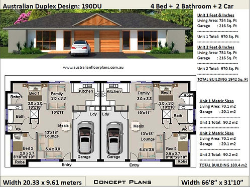 4 BEDROOM !  duplex house plans australia | 190 DU House Plan Set