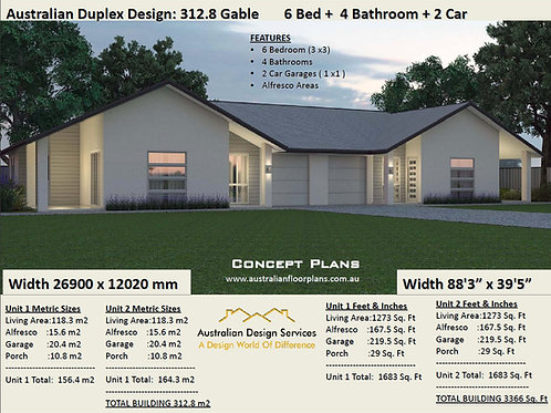 6 Bed + 4 Bath + 2 Cars Duplex Design Australia - Concept Plans