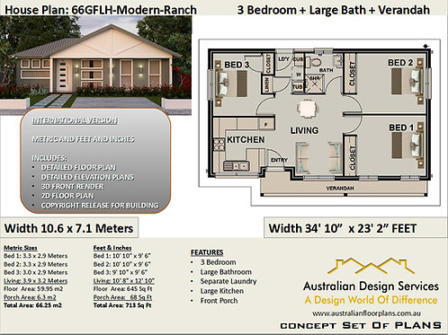 Gable roof 3 Bedroom House Plan | 66GRLH-Modern Ranch Preliminary House P