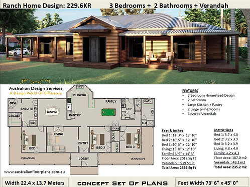 Country Homestead House Plan:226.6KR